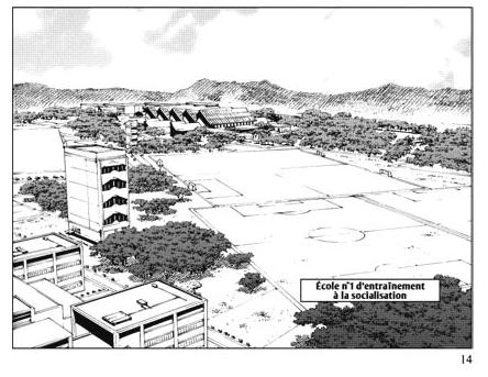 L'école d'entraînement à la sociabilisation : un espace emblématique de la nouvelle société post-catastropheSource : Nobuaki Tadano, 2012, Ethnicity 01,tome 1, planche 14, Doki-Doki.
