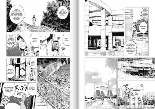 """Des mobilités sous contrôle : Niko et son e-pet tentant de la remettre sur le """"droit chemin""""Source : Nobuaki Tadano, 2012, Ethnicity 01,tome 1, planches 24-25, Doki-Doki."""