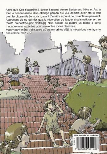 """Niko et les """"souris"""" sur les toits de la zone blanche n°7Source : Verso de la couverture du tome 3 du manga Ethnicity 01."""