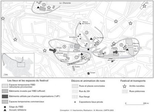 Angoulême 2003 : l'emprise spatiale du festivalSource :Maria GRAVARI-BARBAS et Vincent VESCHAMBRE, « S'inscrire dans le temps et s'approprier l'espace: enjeux de pérennisation d'un événement éphémère », Annales de géographie, n°3/2005 (n° 643), p. 285-306.