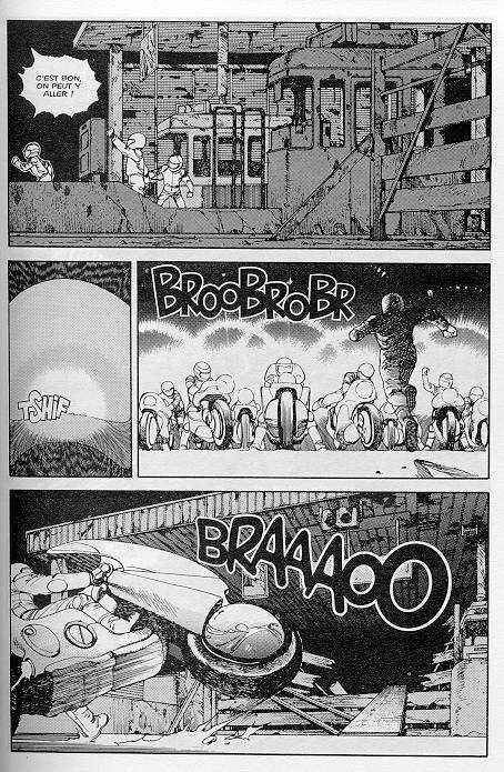 Les grandes autoroutes urbaines et l'absence de nature en ville dans la ville post-apocalyptique dystopique d'Akira Source : Katsuhiro Otomo, 1999, Akira, © Glénat, tome 1.