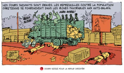 Didier Kassaï, 2014, Bangui, terreur en Centrafrique,extrait de la planche 13, épisode 1.