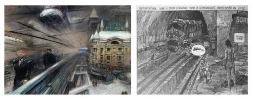 Mobilités urbaines dans les villes de Bilal Source : A gauche : Enki Bilal, 2007, Rendez-vous à Paris, © Casterman, p.  144. A droite : Enki Bilal, 1982, La Foire aux Immortels, © Les Humanoïdes Associés.
