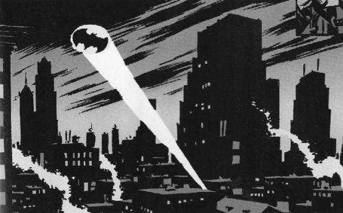 L'inscription du symbole de Batman dans Gotham Source : d'après l'œuvre de Bob Kane.
