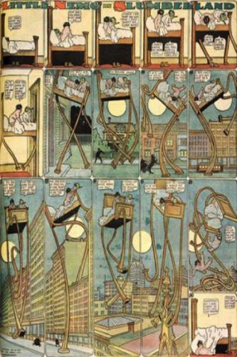 La planche dite du « lit qui marche » Source : Windsor McCay, Little Nemo in Slumberland, 1905.