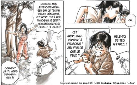 Sarah défendant le styrax contre Tatsuya Source : Tsukasa Hojo, 1994, Sous un rayon de soleil, © Tonkam (réédition avec planches couleurs Ki-oon, 2013), tome 1.