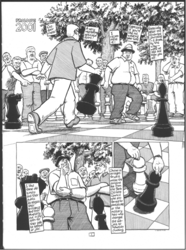 Les joueurs d'échecs de Sarajevo Source : Joe Sacco, 2003, The Fixer, Drawn and Quarterly, Londres, planche 1.