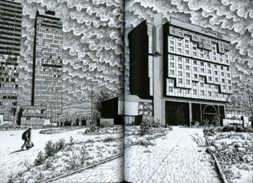 L'arrivée de Joe Sacco au célèbre Holiday Inn Hotel à côté des tours « Momo et Uzeir », hauts-lieux des paysages de destruction et des espaces médiatiques à Sarajevo Source : Joe Sacco, 2003, The Fixer, Drawn and Quarterly, Londres, planches 12-13.