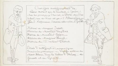 """Rodolphe Töpffer, page présentant les ouvrages de l'artiste placé à la suite de l'Histoire d'Albert, Genève, 1845. Source : Publié dans Antoine Sausverd, """"Tout Töpffer (ou presque) en numérique"""", blog Töpfferiana, 7 février 2013."""