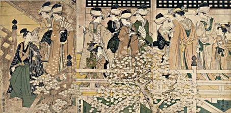 « En allant admirer les cerisiers en fleurs à Kiyomizu-dô au temple Kan'eiji à Ueno » Source : Utagawa Toyokuni, 1800. Estampe publiée dans : site de l'exposition virtuelle L'estampe japonaise, BnF.