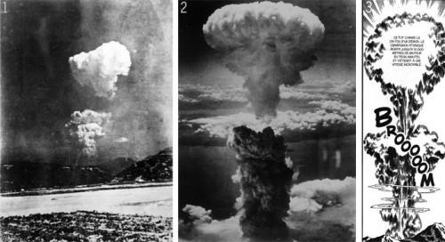 """Le """"champignon"""" d'Hiroshima : de la photographie à Gen d'Hiroshima, la quête de réalisme Source : Abdré Gunthert, """"(Ne pas) voir Hiroshima"""", Le carnet de recherche d'André Gunthert, 9 janvier 2013."""