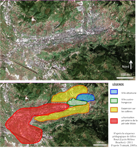 """L'urbanisme et l'expansion urbaine de l'agglomération de Sarajevo Source : Tratnjek, Bénédicte, 2012, """"La destruction du « vivre ensemble » à Sarajevo : penser la guerre par le prisme de l'urbicide"""", Lettre de l'IRSEMM, n°5/2012, 6 juin 2012, en ligne : http://www.defense.gouv.fr/irsem/publications/lettre-de-l-irsem/les-lettres-de-l-irsem-2012-2013/2012-lettre-de-l-irsem/lettre-de-l-irsem-n-5-2012/releve-strategique/dossier-special-les-20-ans-du-siege-de-sarajevo-les-balkans-un-laboratoire-pour-la-pensee-strategique/la-destruction-du-vivre-ensemble-a-sarajevo-penser-la-guerre-par-le-prisme-de-l-urbicide"""